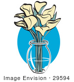 #29594 Royalty-Free Cartoon Clip Art Of A Bunch Of Cream Calla Lilies In A Clear Glass Vase Over A Blue Oval On Easter