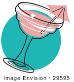 #29595 Royalty-Free Cartoon Clip Art Of A Pink Umbrella In A Strawberry Margarita