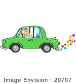 #29707 Clip Art Graphic Of A Man Driving An Environmentally Green Car Emitting Colorful Flowers From The Exhaust