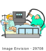 #29708 Clip Art Graphic Of A Nurse Watching As A Proctologist Prepares To Give A Scared Man A Colonoscopy