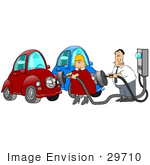 #29710 Clip Art Graphic Of A Husband And Wife Plugging In Their Electric Cars To Charge