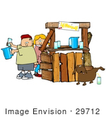 #29712 Clip Art Graphic Of A Mischievous Dog Urinating In A Glass While A Boy And Girl Pour Real Drinks At A Lemonade Stand