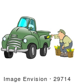 #29714 Clip Art Graphic Of A Middle Aged Caucasian Man Inserting Corn Into A Green Biodiesel Truck'S Gas Tank
