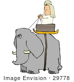 #29778 Clip Art Graphic Of An Annoyed Elephant Transporting A Man In A Basket