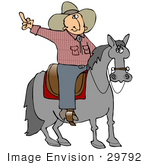 #29792 Clip Art Graphic Of A Tempermental Cowboy On Horseback Flipping The Bird