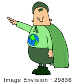 #29836 Clip Art Graphic Of An Environmentalist Super Hero Ready To Save The Planet