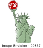 #29837 Clip Art Graphic Of A Green Statue Of Liberty Smiling And Holding The Torch High Above Her Head