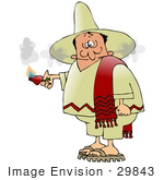 #29843 Clip Art Graphic Of A Man Smoking Out Of The Ears After Eating A Spicy Hot Red Pepper While Touring Mexico Clipart Illustration