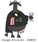 #29853 Clip Art Graphic Of A Black Cow Serving Wine In A Restaurant