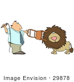 #29878 Clip Art Graphic Of A Man Using A Chair And Whip To Tame A Lion
