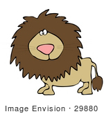 #29880 Clip Art Graphic Of A Curious Lion Looking At The Viewer