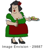 #29887 Clip Art Graphic Of A Hispanic Woman Serving Tacos And Burritos In A Mexican Restaurant