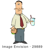 #29889 Clip Art Graphic Of A Man Holding A Hamburger And Soda