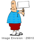 #29910 Clip Art Graphic Of A Patriotic Man Holding A Blank Sign