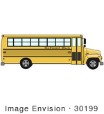 #30199 Clip Art Graphic Of A Yellow School Bus In Profile