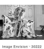 #30222 Stock Photo of a Strong Male Dancer Holding A Female Dancer As Other Women Dance Around Them, A Group Of Paul Tcherinkoff's Russian Dancers, 1923 by JVPD