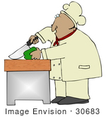 #30683 Clip Art Graphic Of A Hispanic Male Chef Wearing A Chefs Hat And Jacket Prepping And Cutting A Green Bell Pepper In A Kitchen