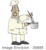 #30685 Clip Art Graphic Of A Male Hispanic Chef Stirring A Pot Of Food With A Whisk