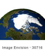 #30716 Stock Photo Of The Arctic Sea Ice Minimum For 2005 Showing The Ice Spanning Over The Sea With Significantly Less Ice Than Years Prior Due To Global Warming