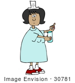 #30781 Clip Art Graphic Of A Hispanic Female Nurse Holding Out A Pill And Glass Of Water For A Hospital Patient