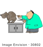 #30802 Clip Art Graphic Of A Caucasian Male Veterinarian Holding Scissors Near A Scared Male Dog'S Balls And Preparing To Neuter Him
