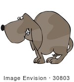 #30803 Clip Art Graphic Of A Scared And Nervous Brown Dog Cowering With His Tail Tucked Between His Hind Legs