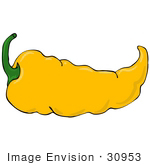 #30953 Clip Art Graphic Of A Spicy Hot Yellow Chilie Pepper With A Green Stem