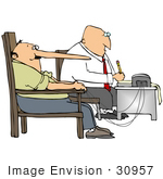 #30957 Clip Art Graphic Of A Man'S Nose Growing While Lying During A Polygraph Test