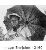 #3160 African American Woman With Umbrella