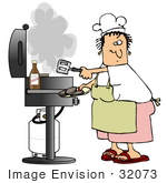 #32073 Clip Art Graphic Of A Caucasian Woman In An Apron And Chef'S Hat Cooking Burgers On A Gas Grill