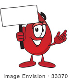 #33370 Clip Art Graphic Of A Transfusion Blood Droplet Mascot Cartoon Character Holding A Blank Sign