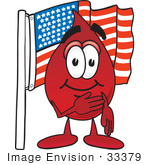 #33379 Clip Art Graphic Of A Transfusion Blood Droplet Mascot Cartoon Character Pledging Allegiance To An American Flag