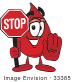 #33385 Clip Art Graphic Of A Transfusion Blood Droplet Mascot Cartoon Character Holding A Stop Sign