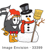 #33399 Clip Art Graphic Of A Semiquaver Music Note Mascot Cartoon Character With A Snowman On Christmas