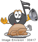 #33417 Clip Art Graphic Of A Semiquaver Music Note Mascot Cartoon Character Serving A Thanksgiving Turkey On A Platter