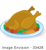 #33428 Clipart Of A Hot Cooked Turkey Bird On A Platter With Potatoes And Carrots Served For Thanksgiving Dinner
