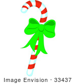 #33437 Clipart Of A Striped Red And White Peppermint Candy Cane With A Bright Green Christmas Bow