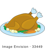#33449 Clipart Of Carrots And Potatoes On A Platter With A Thanksgiving Or Christmas Turkey