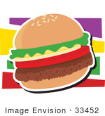#33452 Clipart Of A Veggie Hamburger With A Thick Fake Beef Patty Tomatoes Onions And Lettuce
