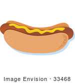 #33468 Clipart Of A Tasty Hot Dog Topped Only With Mustard
