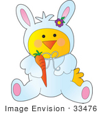 #33476 Clipart Of A Baby Chic In A White Easter Bunny Costume Holding A Carrot