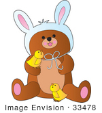 #33478 Clipart Of A Cute Little Bear Wearing Bunny Ears On Easter And Playing With Yellow Chicks