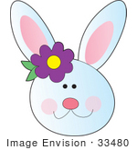 #33480 Clipart Of A Smiley Faced White Rabbit With A Purple Flower By Her Ear