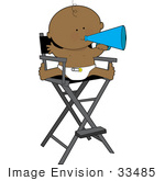 #33485 Clipart Of A Cute Black Baby In A Diaper Giving Bossy Directions Through A Megaphone Cone While Sitting In A Director'S Chair