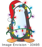 #33495 Christmas Clipart Of A Festive Penguin Wearing A Santa Hat With Holy Decorated In Battery Powered Christmas Lights