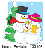 #33496 Christmas Clipart Of A Proud Snowman Father Adoring His Newborn Baby While His Wife Cradles It
