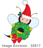 #33517 Christmas Clipart Of A Jolly Christmas Bee Wearing A Santa Hat And Carrying A Wreath