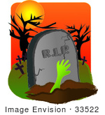 #33522 Clipart Of A Dead Person'S Hand Reaching Up From The Grave In A Cemetery