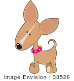 #33526 Clip Art Graphic Of A Curious Fawn Colored Chihuahua Puppy Dog Wearing A Pink Collar Tilting Its Head To The Side