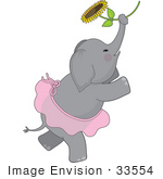 #33554 Clip Art Graphic Of A Ballerina Elephant In A Pink Tutu Dancing With A Sunflower